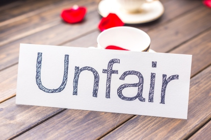 unfair to fair on white paper