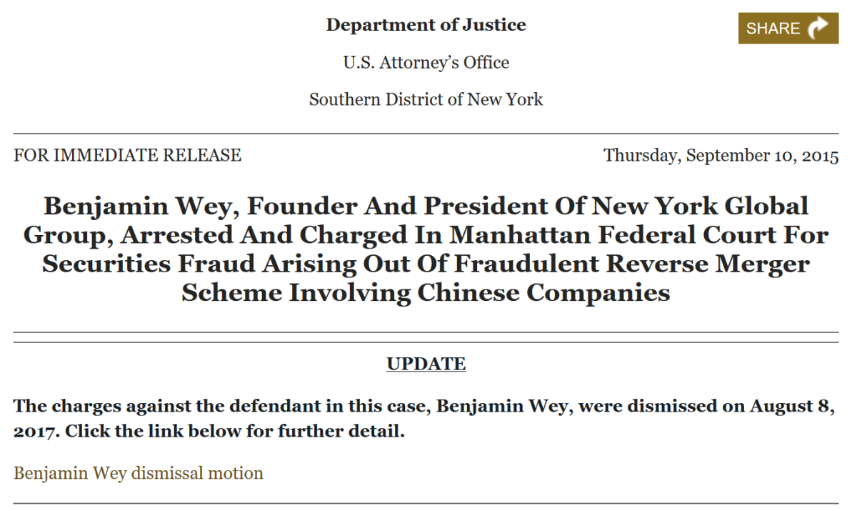 Wey press release