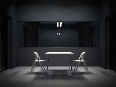 Dark room for interrogation. 3d rendering